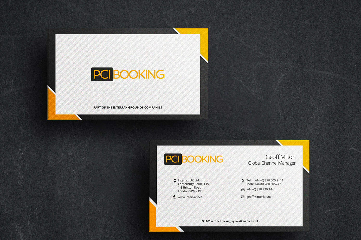 PCI Booking Business Cards